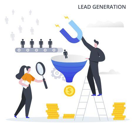 Illustration vectorielle de processus métier de génération de leads. Le processus d'attraction de clients potentiels vers l'entonnoir de vente et de profit de la conversion. Vecteurs