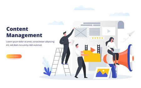 Content Management concept. Experts fill the web page with engaging content. Can use for banner, web landing page, ui, mobile app, flyer and other related occasion