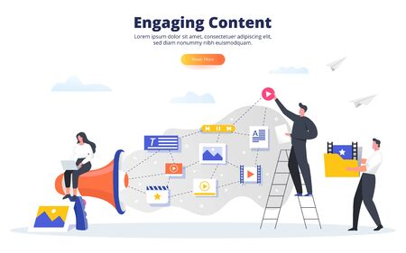 Engaging content concept. Blogging, SMM, media planning, promotion in social network concept. Creating, marketing and sharing of digital - flat vector illustration.