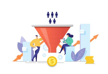 The process of communication and attracting new customers and making a profit business concept. Sales funnel analysis flat vector illustration. Purchase funnel, lead generation in digital marketing.