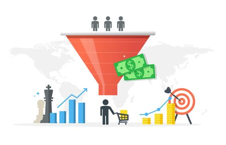 Generating new clients and sales growth flat vector concept. Purchase funnel and lead generation in digital marketing. Çizim