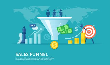 Purchase funnel flat vector illustration. The process of communication and attracting new customers and making a profit business concept. Sales automation tool.