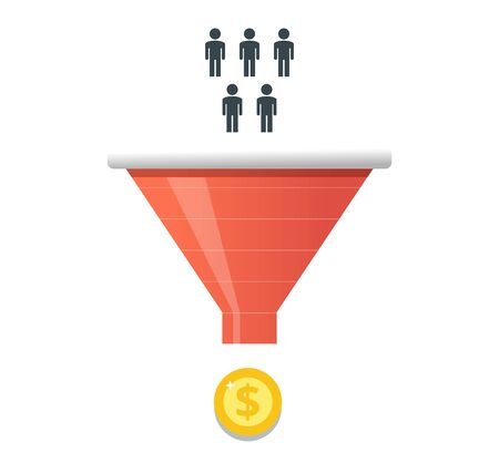 Purchase funnel and lead generation in digital marketing. Customer attraction business concept.