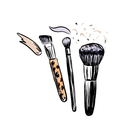 Hand drawn vector makeup brushes. Make up objects on white background.