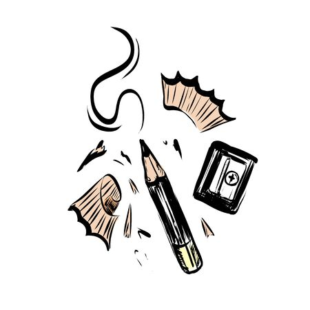 Hand drawn vector pencil, pencil shavings and sharpener. Illustration