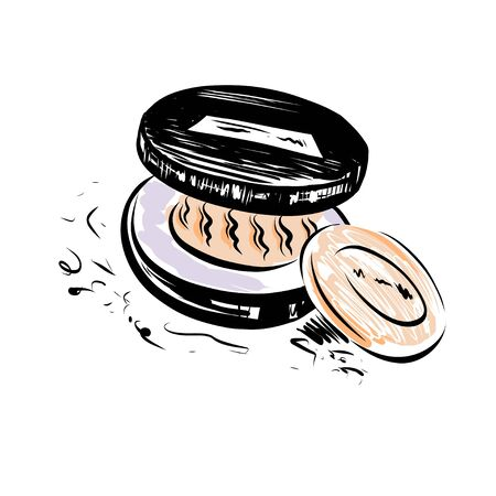 Hand drawn vector powder. Make up object on white background.