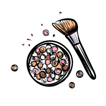 Hand drawn vector blush. Make up object on white background. Çizim