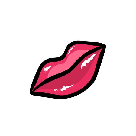Hand drawn vector red lips. Make up concept.