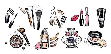 Hand drawn vector set of make up artist objects. Cosmetics concept with powder, lipstick, blush, brushes, tone cream, perfume.