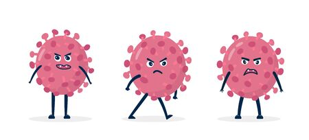 Coronavirus - COVID-19 Bacteria vector icons set. Angry cartoon virus character 2019-nCoV signs. Çizim