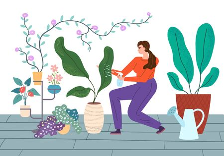 Houseplants Care vector illustration. Young woman carefully spraying and watering plants in house.