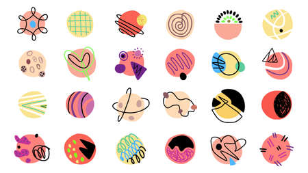 Contemporary modern trendy vector doodles. Abstract shapes hand drawn set. Çizim