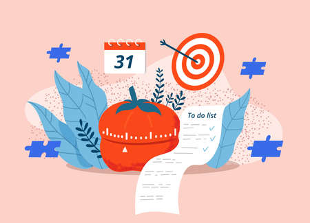 Time control and management. Watch, pomodoro tracker, goal list - flat vector illustration. Composition with tools for effective and efficient work.
