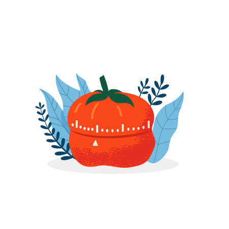 Pomodoro tracker vector illustration. Time Management Flat Concept Çizim