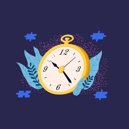Time Management Flat Concept. Golden clock vector illustration.