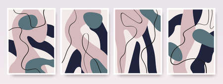 Abstract shapes hand drawn set. Contemporary modern trendy vector backgrounds. Illustration