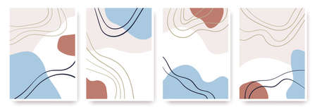 Abstract shapes hand drawn set. Contemporary modern trendy vector backgrounds. Çizim