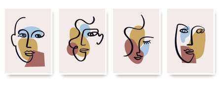 Contemporary abstract faces in one line art style on colorful shapes. Illustration