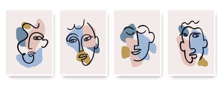 Contemporary abstract faces in one line art style on colorful shapes. Çizim