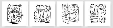 Contemporary abstract faces in one line art style on colorful shapes. 向量圖像