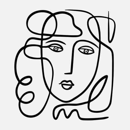 Vector hand drawn abstract face illustration in modern trendy style.