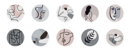Abstract stories highlights for social network. Hand drawn round contemporary icons.