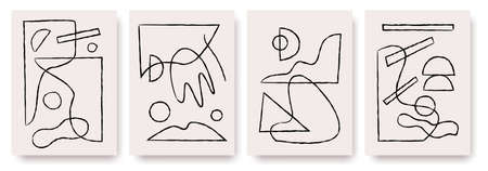 Modern abstract painting. Abstract posters art set.