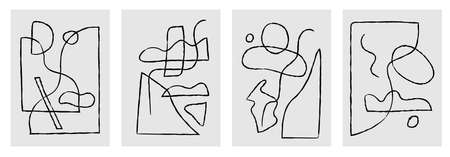 Modern abstract painting. Abstract posters art set. Hand drawn various shapes.