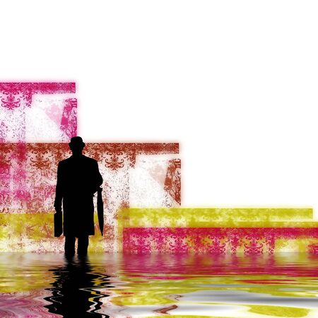 man in a abstract world of colour and water waves Stock Photo - 2263212