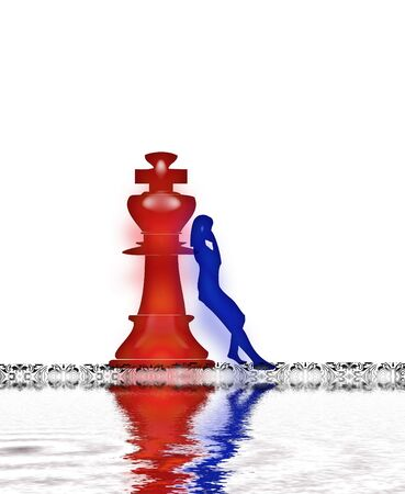 Person leaning against a chess peace king Stock Photo - 2276406