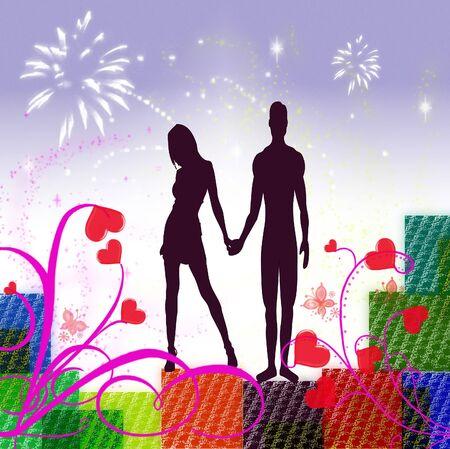 Valentine image with red love harts Banco de Imagens - 2309218