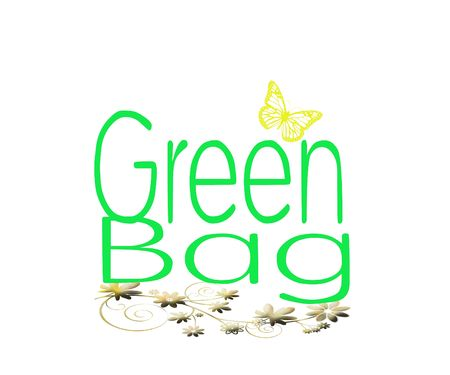 Green conceptual background for a shopping bag photo