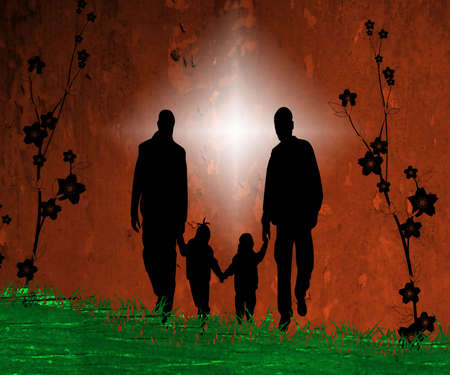 family of 4 holding hands together wall paper photo