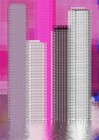 abstract city scape with water ripple