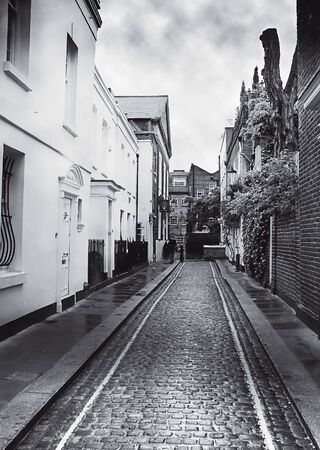 mono image of a london mews on a gray day