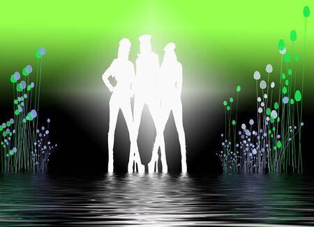 set in a night club dancing girls Banco de Imagens