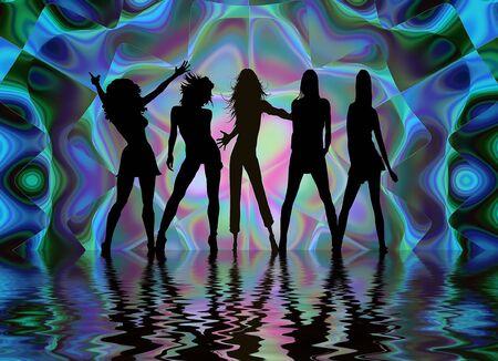 night club: en un club nocturno bailando ni�as