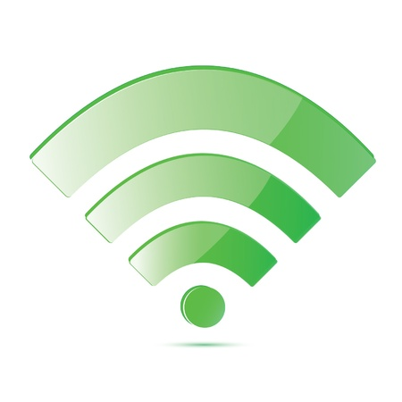 wireless network: Luz verde s�mbolo de red inal�mbrica Vectores