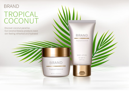 Cosmetic realistic vector background. White jar and tube with golden lid next to leaves of coconut palm. Mock up promo banner with organic cosmetics, concept poster for natural product