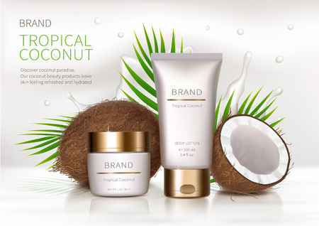 Cosmetic realistic vector background. White jar and tube with golden lid next to coconut, palm leaves and milk splash. Mock up promo banner with organic cosmetics, concept poster for natural product