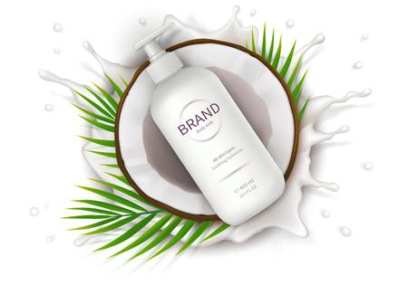 Kosmetische Anzeige realistischer Vektor. Weiße Spenderflasche mit Lotion und der Hälfte der Kokosnuss auf dem Hintergrund des Milchspritzens. Mock-up-Werbebanner für Katalog, Konzeptplakat für natürliche Biokosmetik