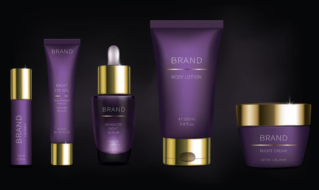 Night cosmetic series for face skin care, realistic vector. Purple cream jar and revitalizing serum, plastic tube with eye gel. Brand design for luxury premium cosmetics isolated on black background