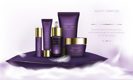 Night cosmetic series for face skin care, realistic vector. Purple jar of cream and serum, plastic tube with eye gel. Cosmetics standing on white fluffy cloud on light background with soft feathers Vector Illustration