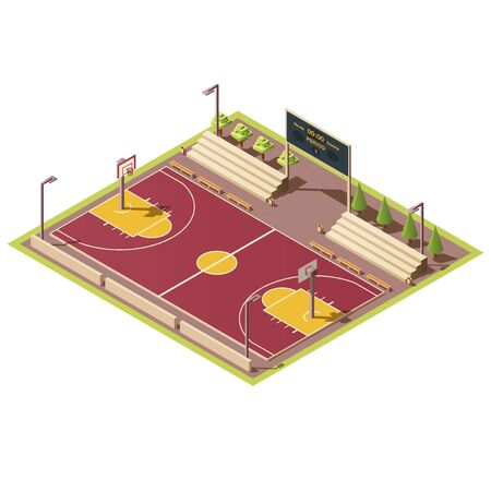 Vector 3d isometric stadium with field for street basketball games, tribune, fence, scoreboard, basket and hoop. Empty sport arena with urban basketball court. Isometry isolated on white background. Vettoriali
