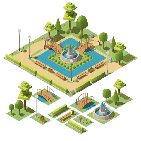 Isometric city public park for recreation with fountain, benches, trees, bushes and pond. Design elements for garden landscape. Urban green ourdoor summer garden for walks, rest and relaxation. 3d vector illustration on white background. Vektoros illusztráció