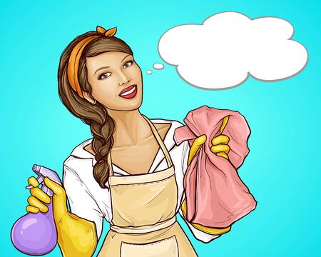 Vector pop art illustration advertising a cleaning service with a smiling housewife. Friendly worker, pretty woman in a uniform and protective gloves, holds cleaning products, retro style