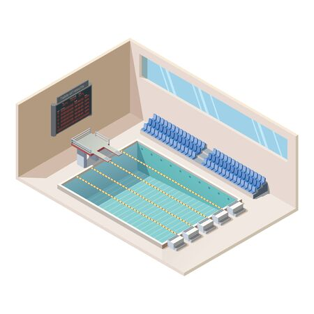 Leisure center with swimming pool, diving platforms and tribune for fans. Isometric deep bath with lanes, electronic board, jump board and tiled walls. 3d vector illustration.