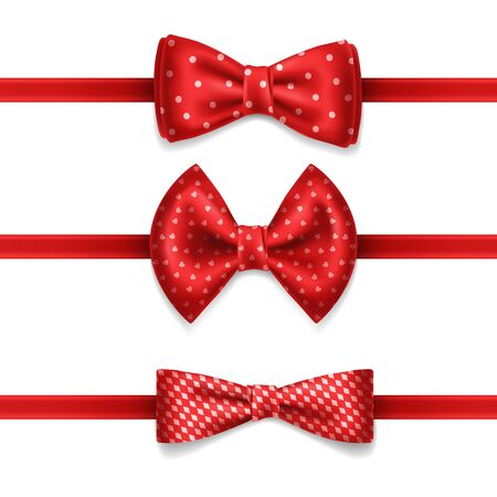 Red bow tie with white dots - vector set isolated on white background. Realistic illustration. Knot silk bow. Bowtie for an elegant evening suit, tuxedo. Classic satin butterfly, fashion cloth. Illustration