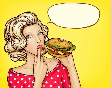 illustration pop art d'une fille avec un doigt de léchage de hamburger, isolée sur fond jaune. Belle jeune femme tenant à la main un énorme hamburger savoureux. Concept de publicité de restauration rapide Vecteurs