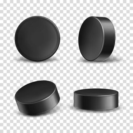 set of 3d realistic black rubber pucks for play ice hockey isolated on transparent background. Hard round disk, sport equipment, inventory for winter team game on skating rink